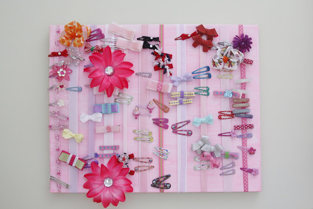 ribbon and canvas hair accessories organizer