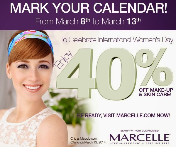 Marcelle.ca sale 40% off March 8-13