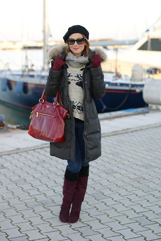 Moncler Phalangere jacket, Miu Miu boots, Prada bag