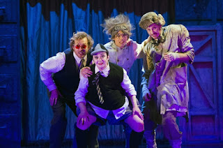 Sam Furness (with rose-tinted specs), Louise Mott, Adam Tunnicliffe, Matt RJ Ward - Act One: Offenbach's The Tales of Hoffmann, English Touring Opera, © Richard Hubert Smith