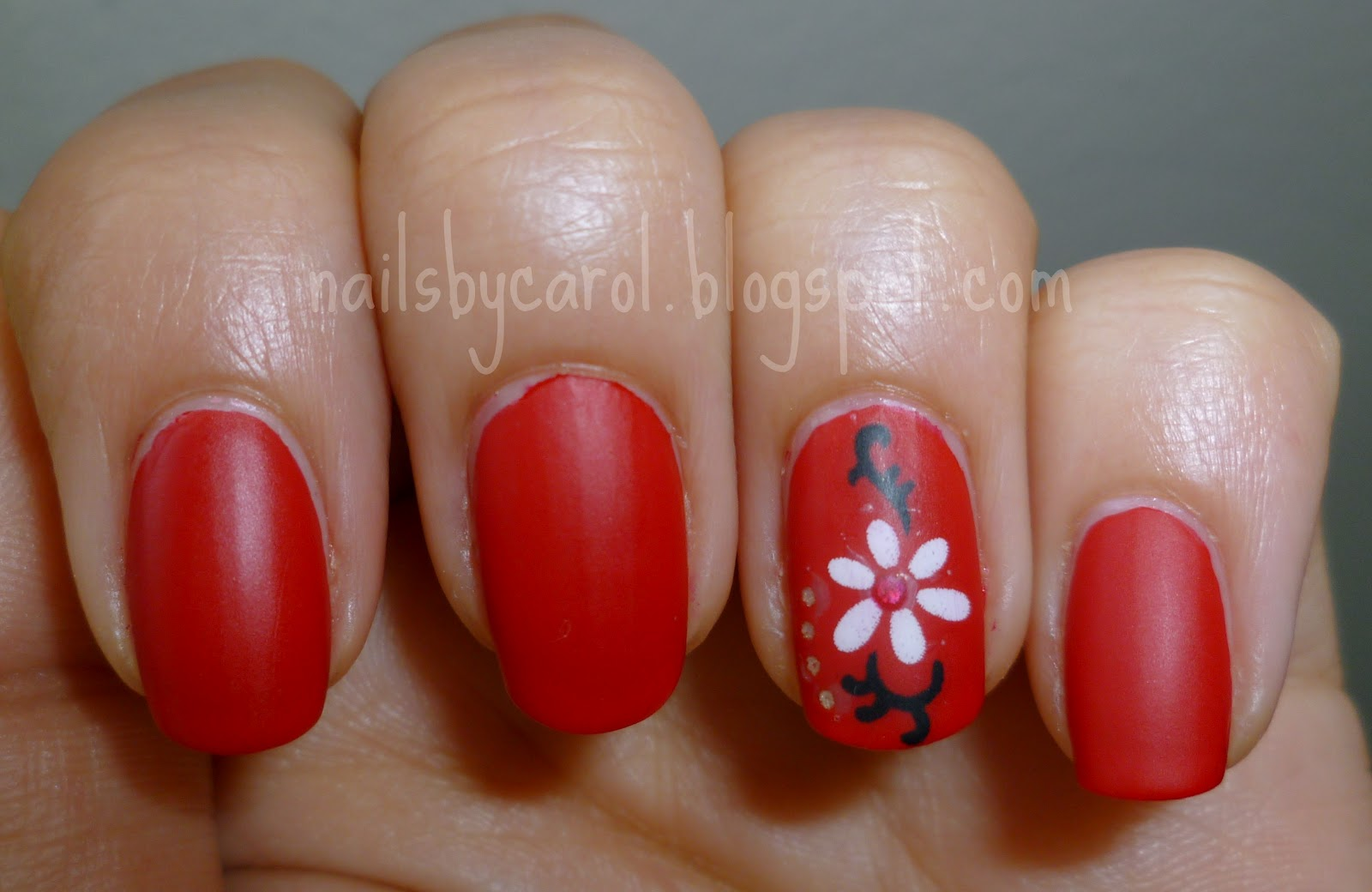 Nails by Carol: Sally Hansen Rapid Red and Nail Art Stickers