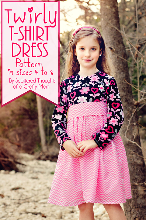Twirly T-Shirt Dress. Tutorial with a free printable pdf pattern. (Girls sizes 4 to 8.) from www.scatteredthoughtsofacraftymom.com