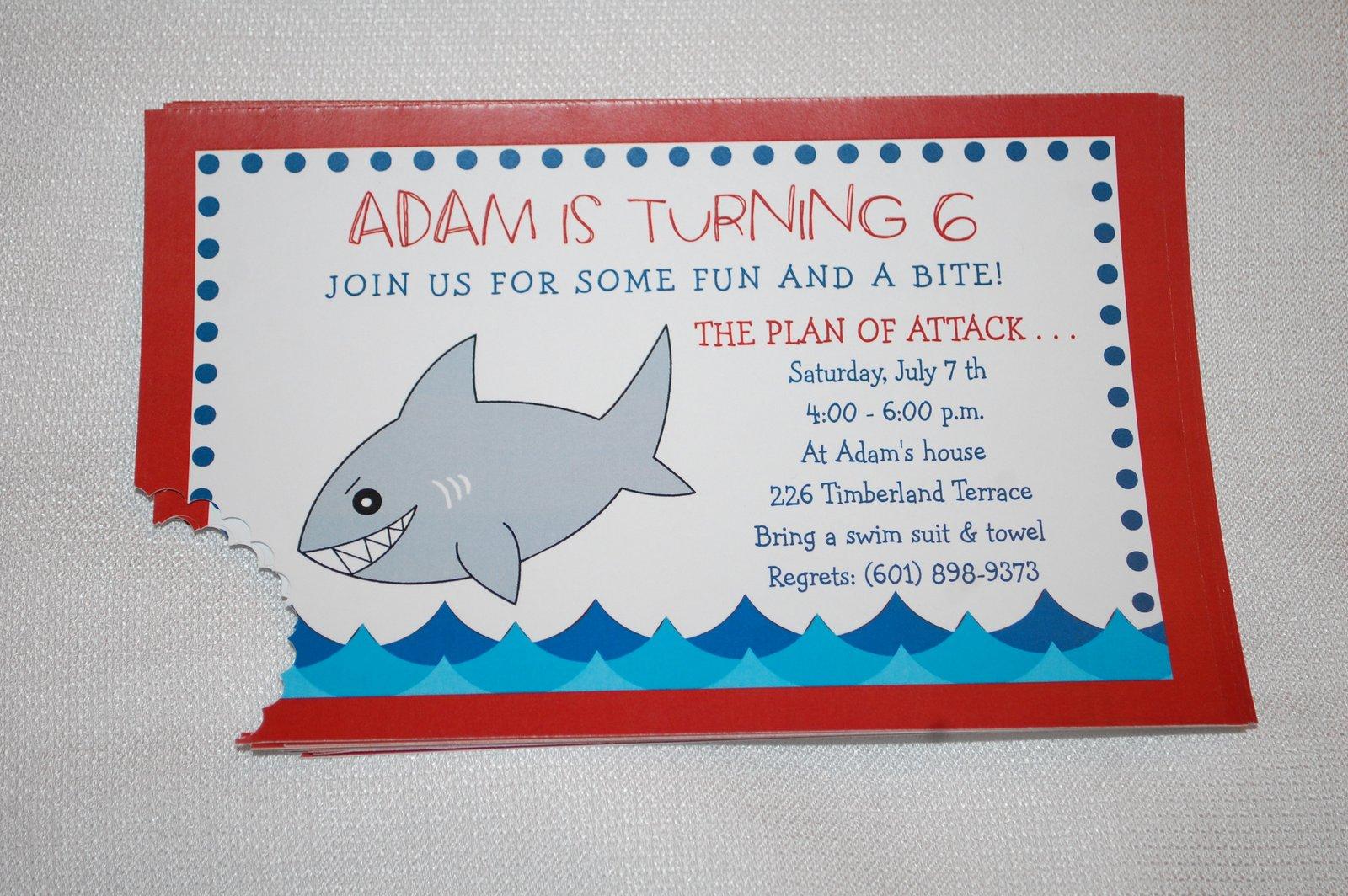 Baby Face Design: Shark birthday invitation