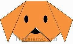 Bước 6: Vẽ mắt, mũi để hoàn thành cách xếp mặt con chó bằng giấy đơn giản.