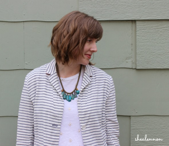 Striped Blazer and #envedesigns Necklace | www.shealennon.com