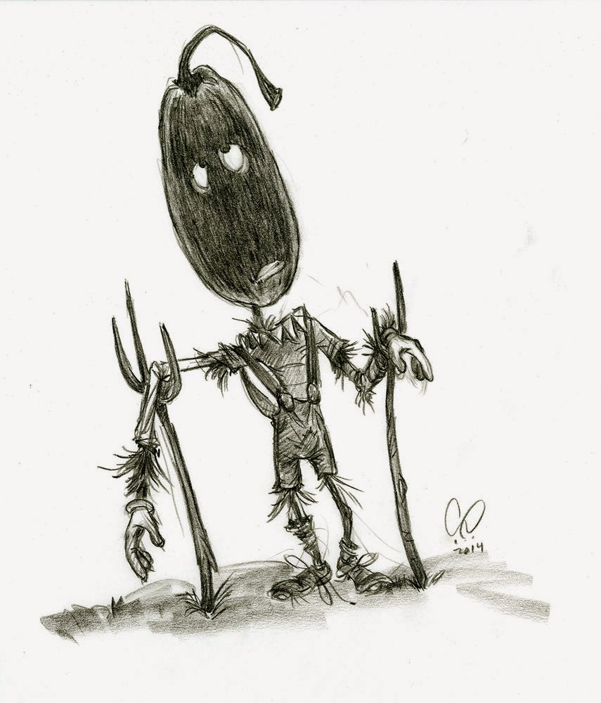 Halloween - Pumpkin Head Character - illustration drawing in pencil by Cesare Asaro - Creative Director at Curio & Co. (Curio and Co. - www.curioanco.com)