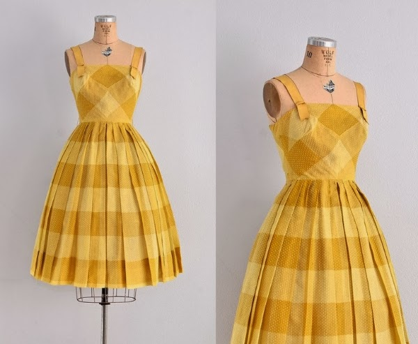 1950s Party Dress Perfection! #1950s #dress #50s #fashion #vintage #yellow