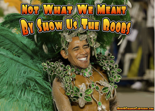 Barack Obama mardi gras boobs