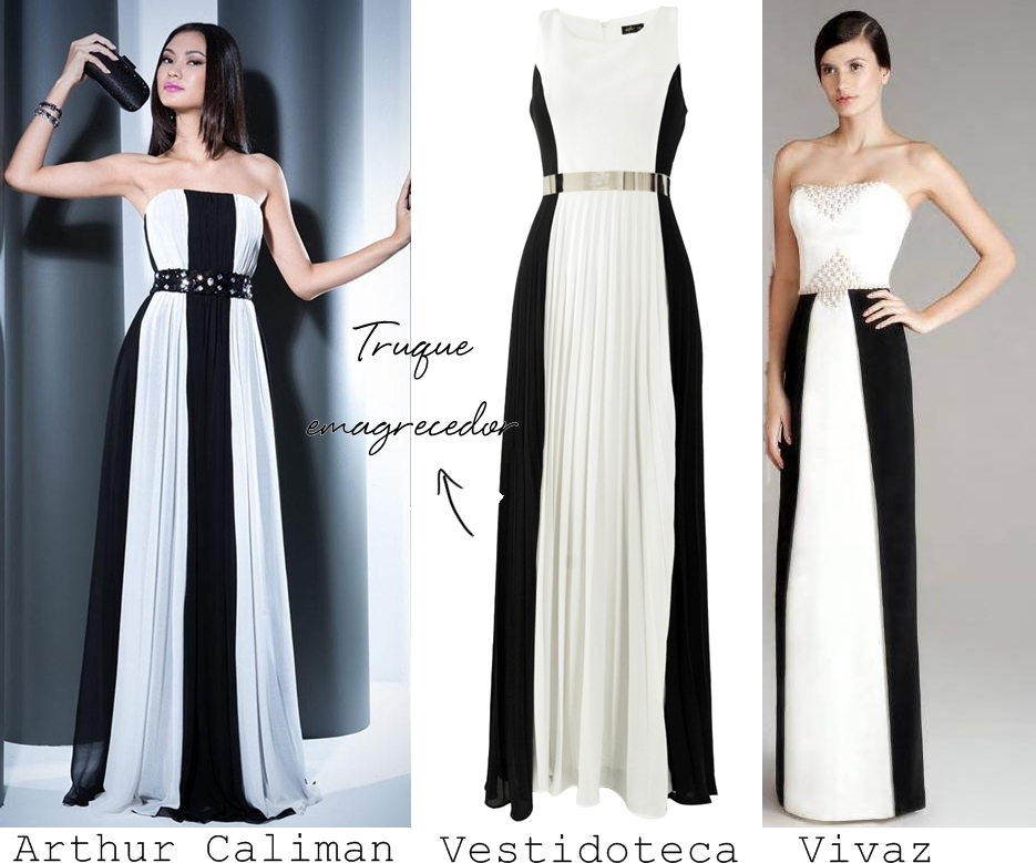 Vestidos de festa preto com branco