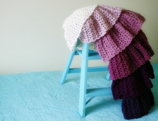 Ombre Ruffle Blanket Crochet Pattern by Susan Carlson of Felted Button