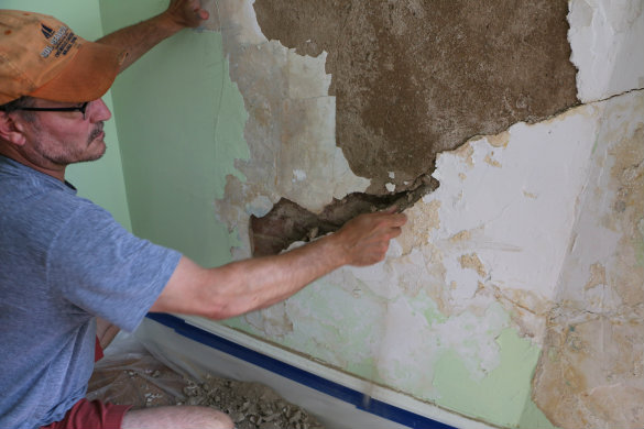 It Became Evident Where The Weakest Areas Were From Where The Water Damage  Had Been. These Areas Would Crumble Away With Gentle Hammer Taps And The ...