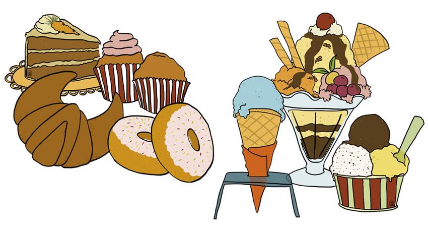 Il·lustracions de gelats i brioxeria per la gelateria Giovanni d'Esparreguera. Encàrrec que em va fer l'estudi EspaiBlanc ©Imma Mestre Cunillera