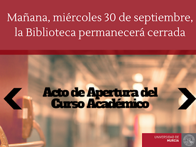 Mañana, miércoles 30 de septiembre, la Biblioteca permanecerá cerrada.