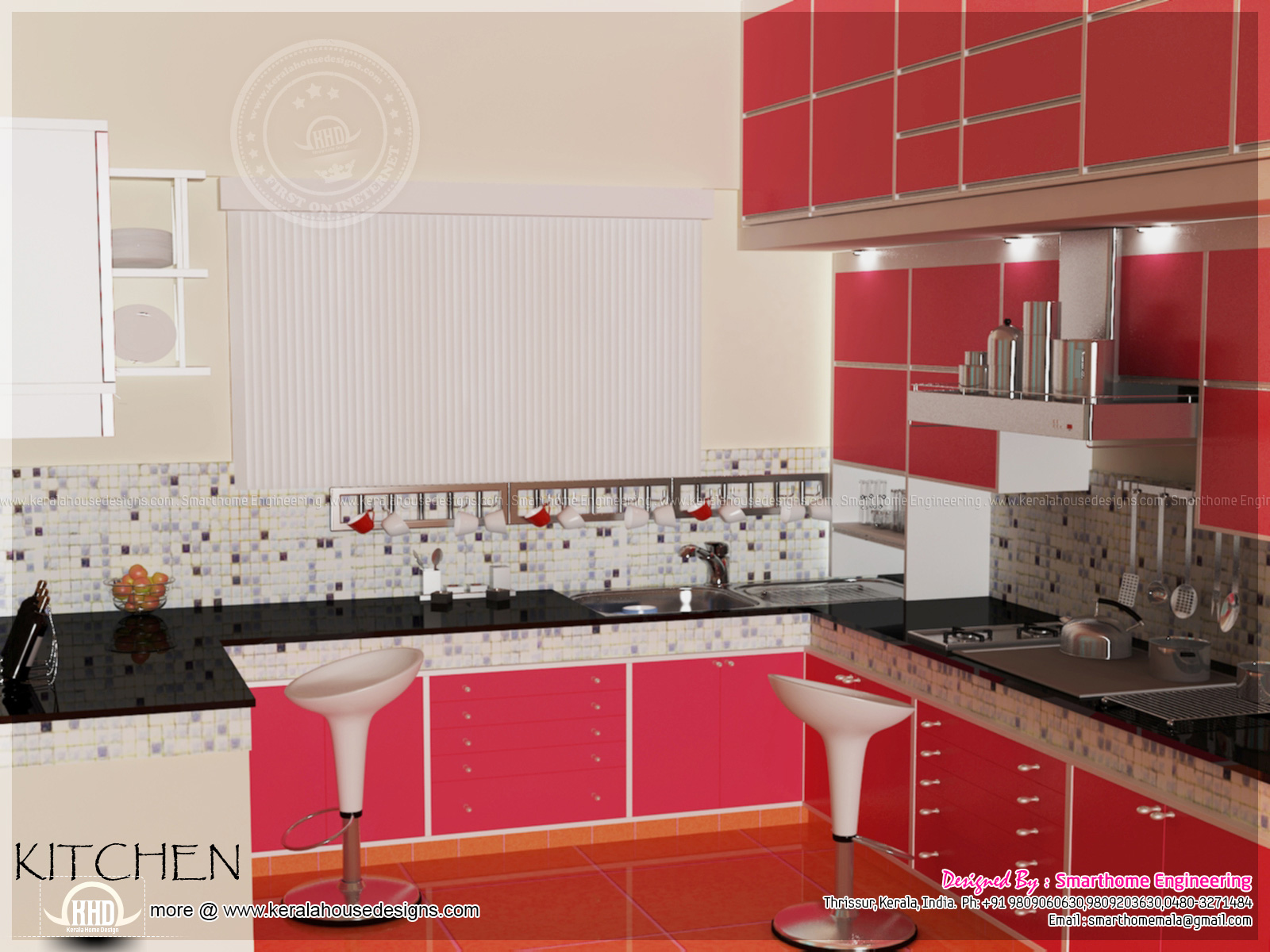 Home interior design by smarthome engineering thrissur for 1 room kitchen interior design