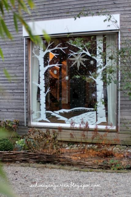 Diy last minute adventsfenster ein schweizer garten - Winterlandschaft dekoration ...