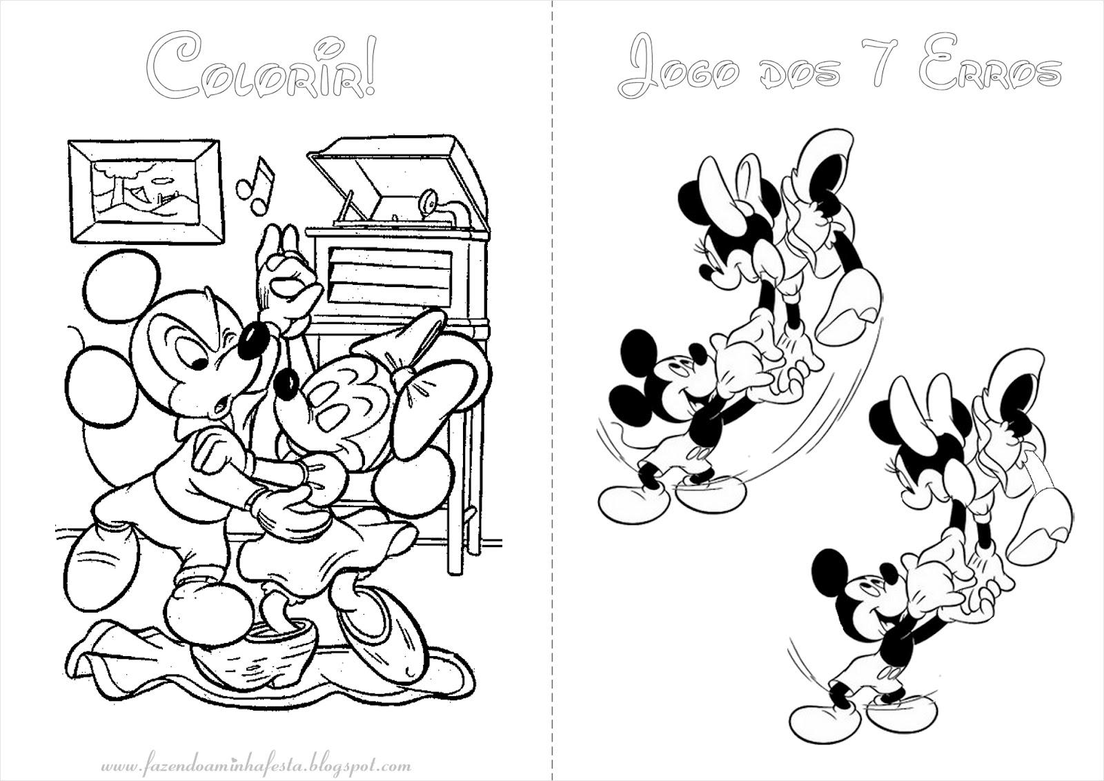 Páginas para colorir Mickey Mickey e Minnie apaixonados