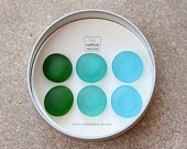 Glass gem magnets ocean green blue