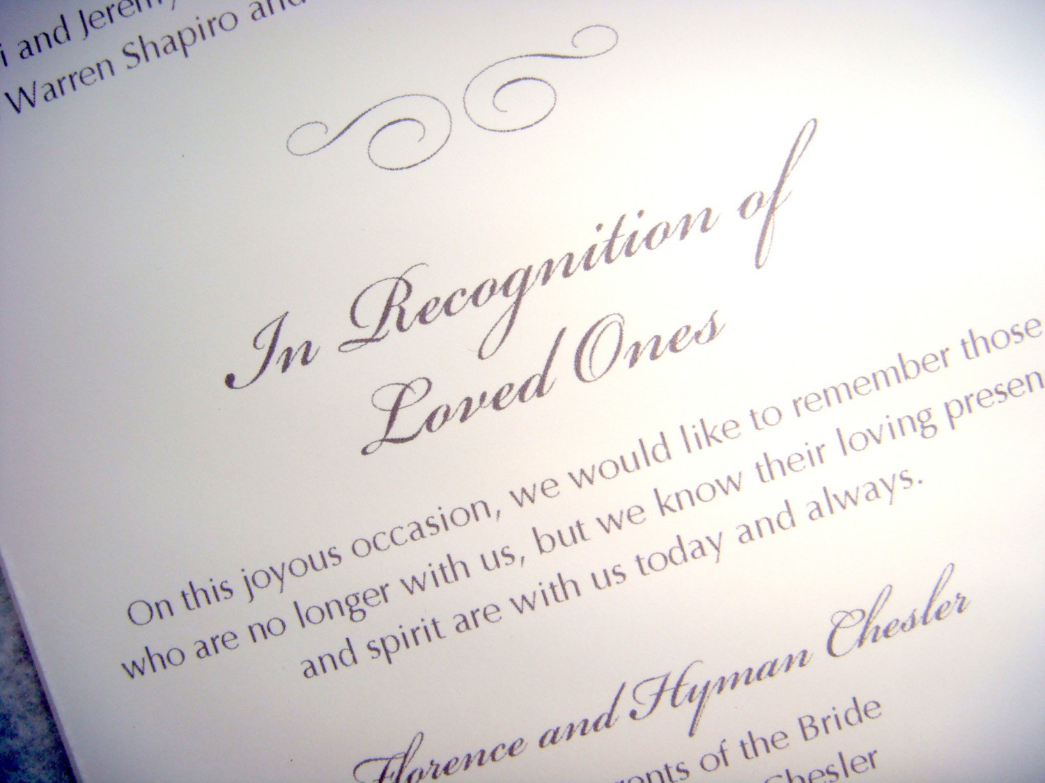 In Memory of Loved Ones http://blog.myweddingreceptionideas.com/2012/03/how-to-honor-lost-loved-ones-at-your.html