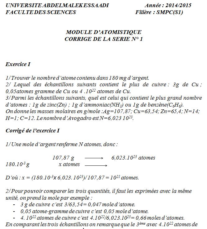 TD Atomistique: Série n° 1 + Corrigé SMPC S1 FST 14-15