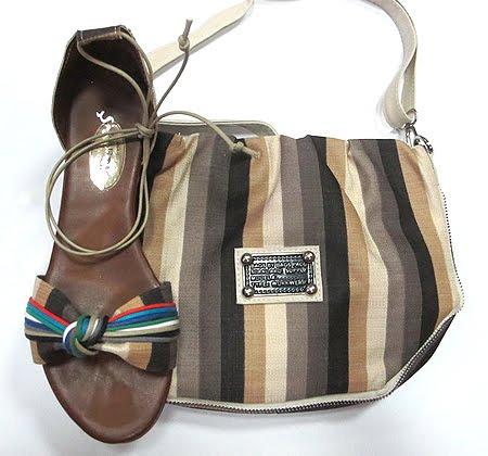 комплект сандали и чанта в бежово кафяво райе