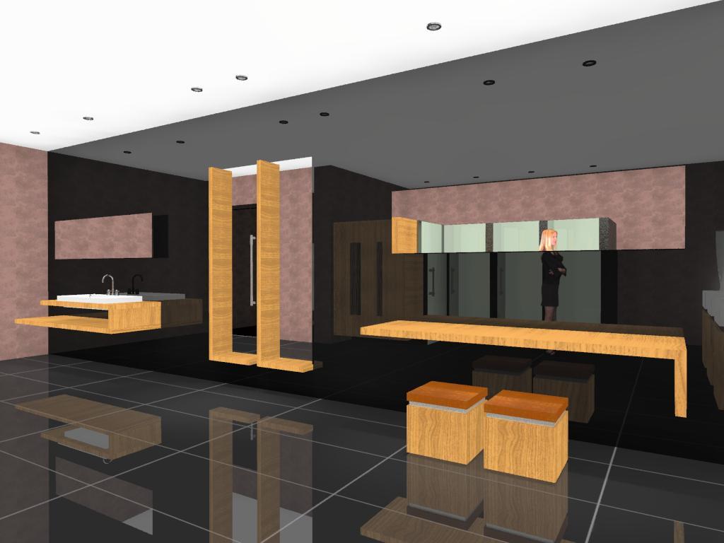 3D VIEW: Projeto de Banheiro para Shopping Center #BA6F11 1024 768