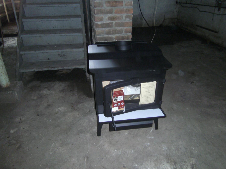 wood stove in basement jpg