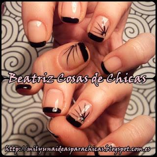 manicura francesa negra