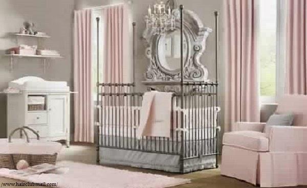 Joli déco chambre bébé fille gris rose