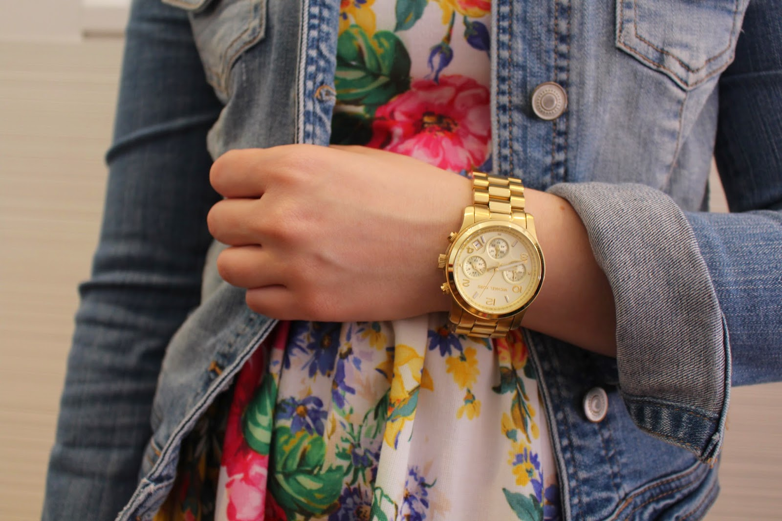 floral dress, denim jacket, black booties, michael kors gold watch, summer outfit, spring outfit, fall outfit, autumn outfit, everyday outfit, petite girl outfit, short girl outfit, floral dress and booties