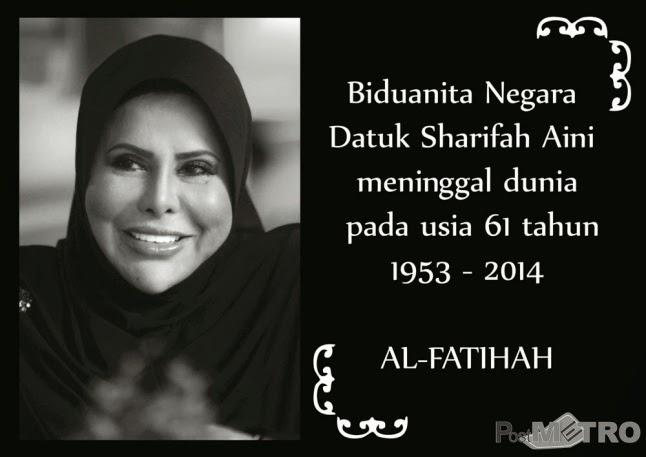Sharifah Aini meninggal dunia