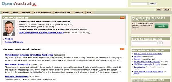 Parliament, OpenAustralia, Hansard, electorates, election, politics, politicians,