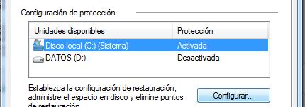 area configuracion de proteccion