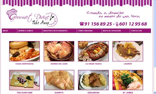página web de Gourmet Divine Take Away, servicio de comida de calidad a domicilio