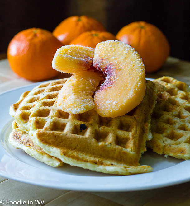 Click for Recipe for Georgia Grits Waffles with Peaches and Maple Syrup