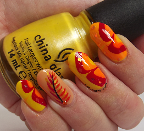 Phoenix Feathers Water Marble Nails Ithinitybeauty Nail Art Blog