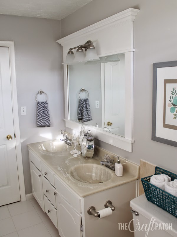 Good I painted the existing TP holder and towel ring with brushed nickel spray paint I also made an extra long towel rod using the existing mounts read about