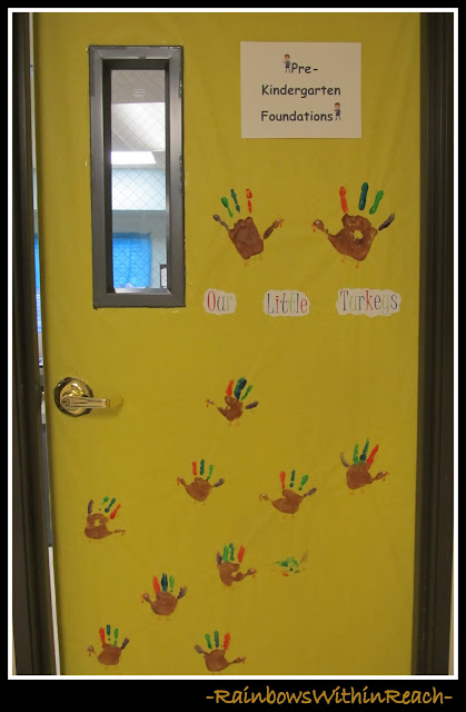 photo of: Classroom Door Decoration for Thanksgiving (Thanksgiving RoundUP via RainbowsWithinReach)