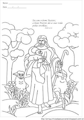 O bom pastor - atividade para colorir