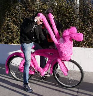 Furry, pink rabbit bike.
