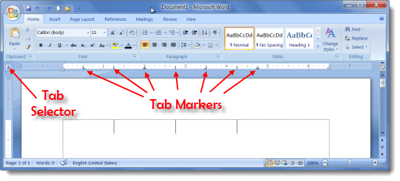 Tab Selector and Tab Markers in MS Word 2007