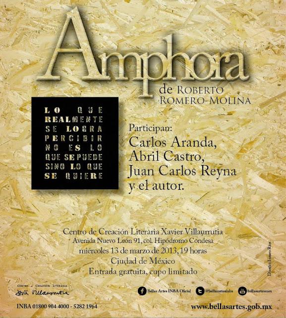 """Presentación del catálogo de artes plásticas """"Amphora"""" de Roberto Romero-Molina"""