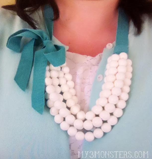A fun Statement Necklace you can make in about 10 minutes at my3monsters.com