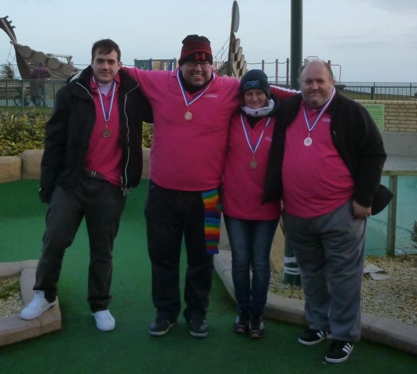The Cambridgeshire & Essex Mini Golf Club team of Chris Wood, Adrian Amey, Emily Gottfried and Mark Wood (C)