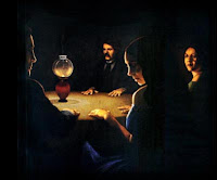painting of seacne, dark with four people in a circle by light of small lamp