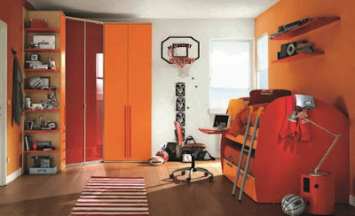 cuarto muebles naranja niño