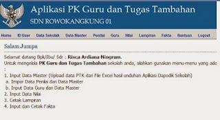 menu utama Aplikasi PK Guru