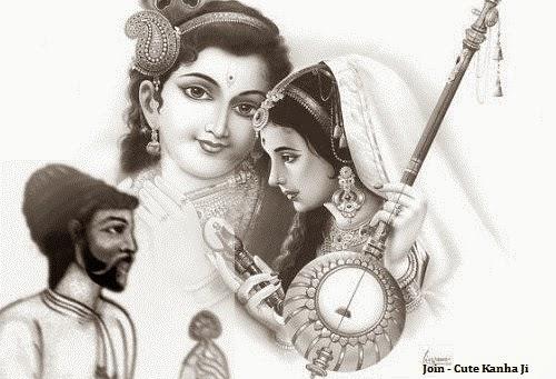cute kanha ji lord krishna witn meera bai and raskhan