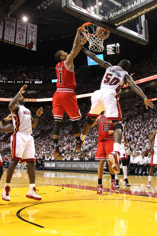 2011 NBA Playoffs Derrick Rose Dunks On Joel Anthony Eastern Conference Finals
