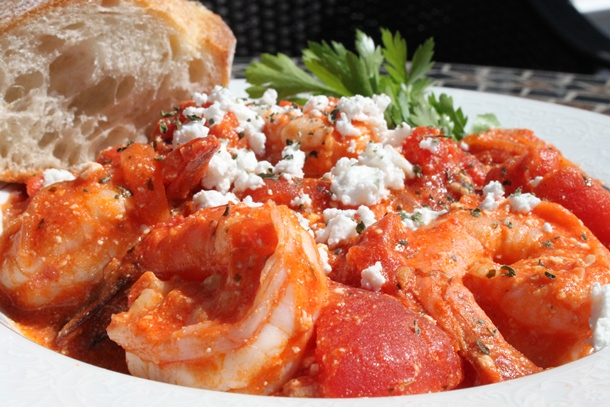Greek Shrimp Saganaki on Farfalle