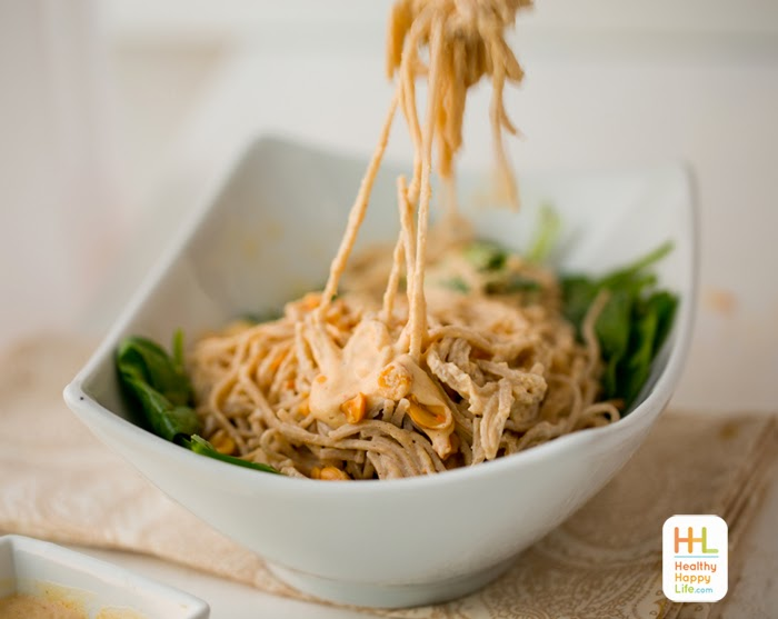 Easy Creamy Fresh Peanut Sauce Soba Noodles